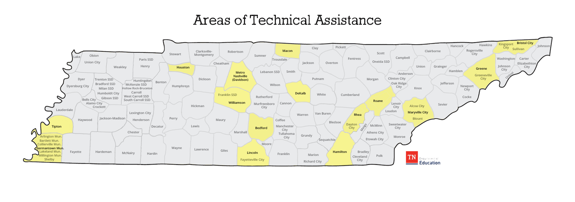 This Areas of Technical Assistance map shows which counties are recieving technical assistance services. Currently these counties are Germantown, Houston, Bedford, Macon, Sequatchie, Rhea, Roane, Maryville City, Greene, Sullivan, and Bristol City.